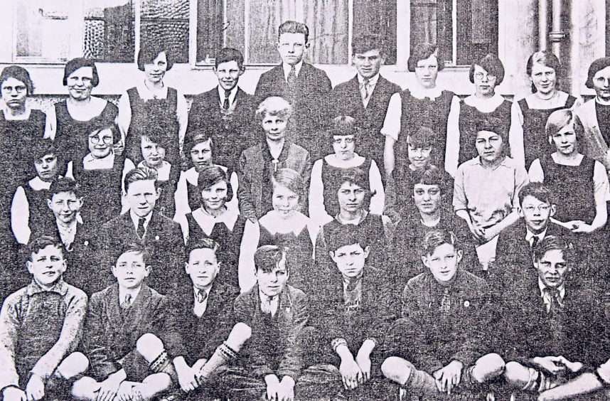 Some of the first pupils of Torry Intermediate School with Miss Craig