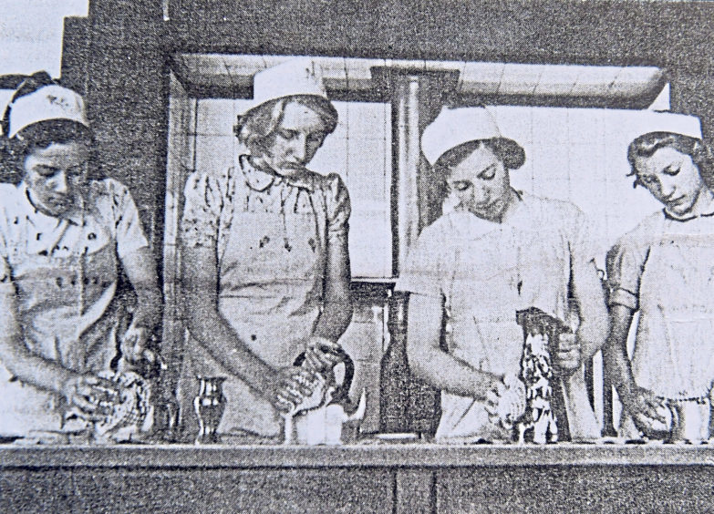 The cookery room at the school in 1940