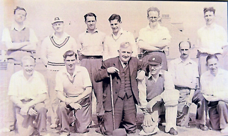 The staff cricket team pictured in 1949