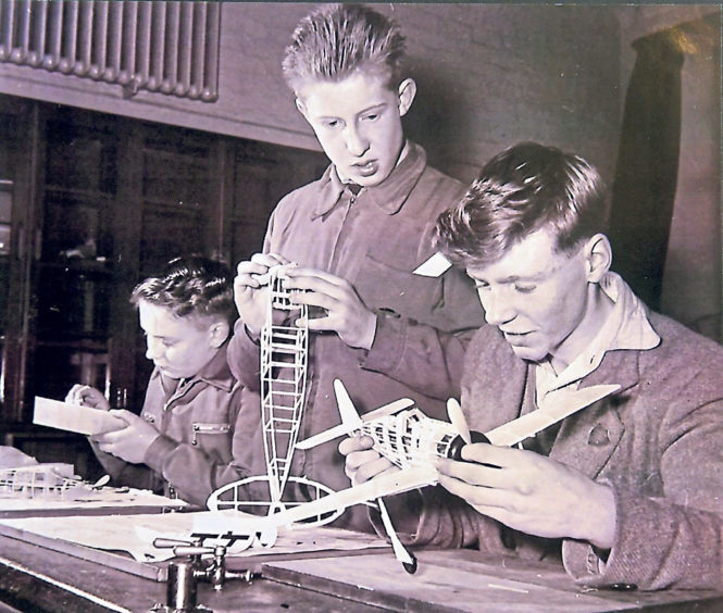 Pupils hard at work at a model making class in the late 1950s