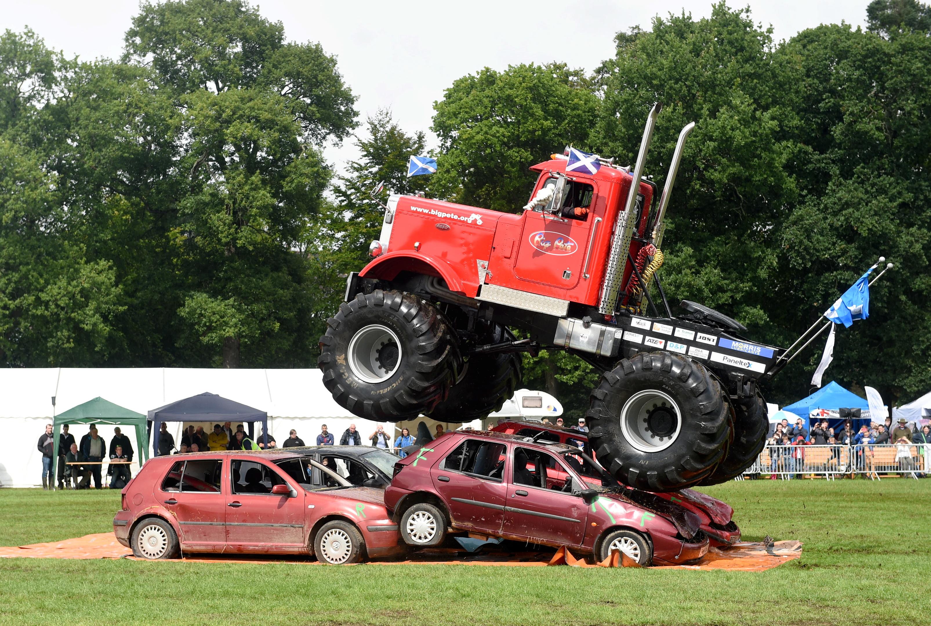 The monster trucks in action