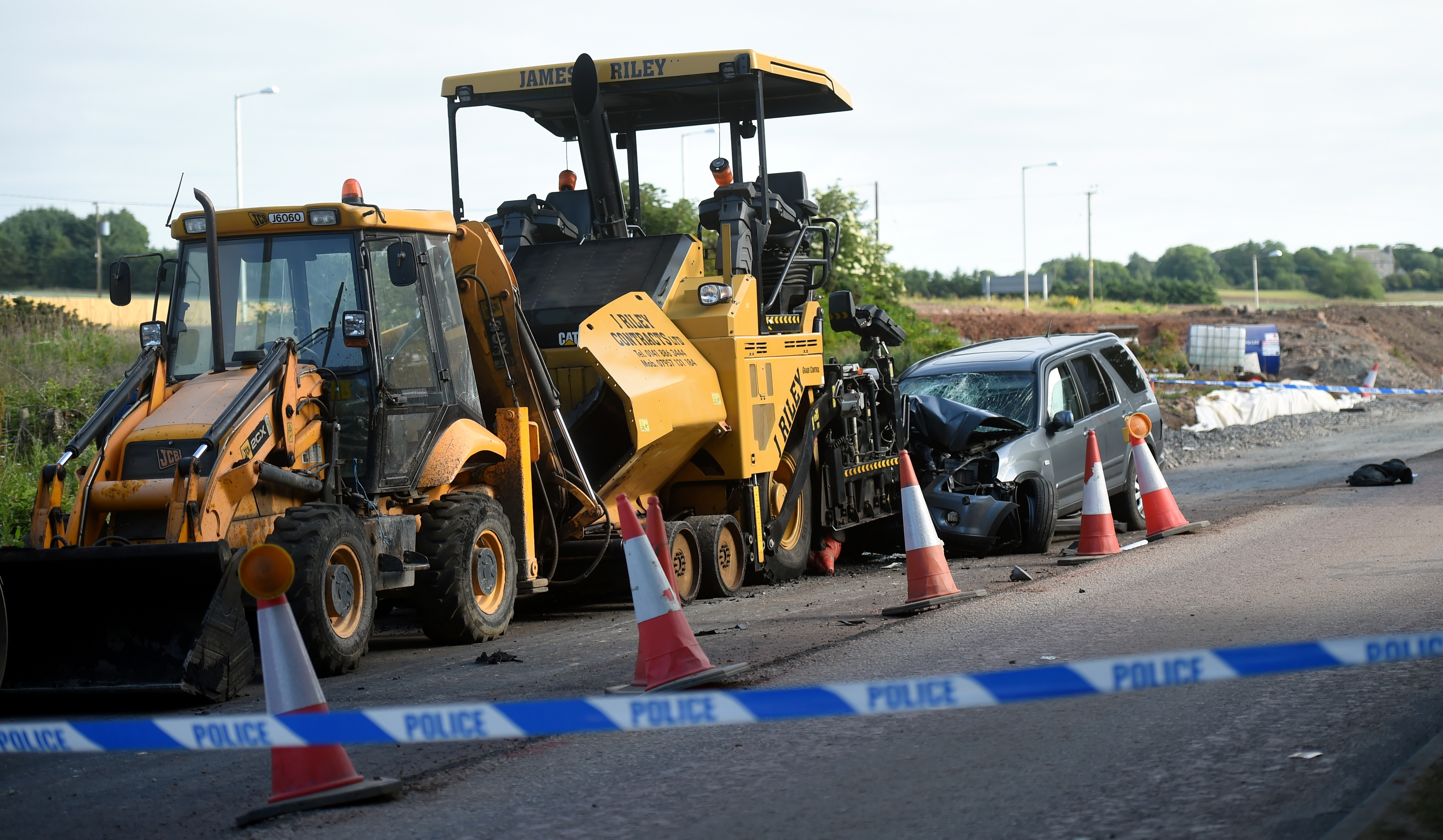 The scene of the crash on the old A90 near Balmedie
