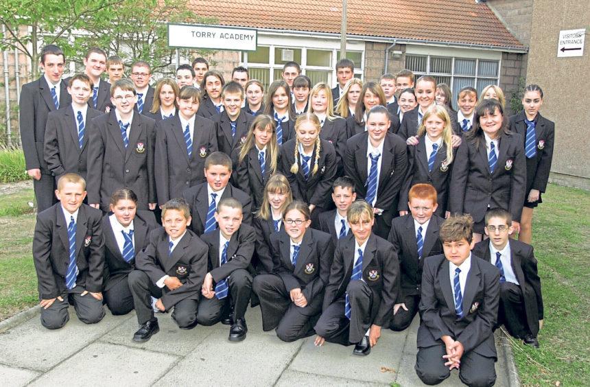 Pupils in their new school uniform in 2003