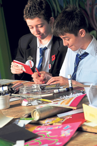 James Welsh, left, and Stephen Park of Torry Academy in the craft workshop run by Aberdeen Forward's Creative Waste Exchange in 2008