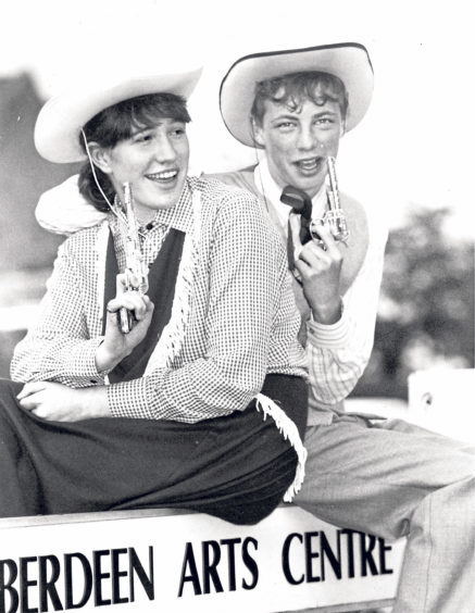 Annie Oakley, alias Fiona Lussier, meets Frank Butler, played by John Shirran, in a scene from Torry Academy's production of Annie Get Your Gun at Aberdeen Arts Centre in 1992