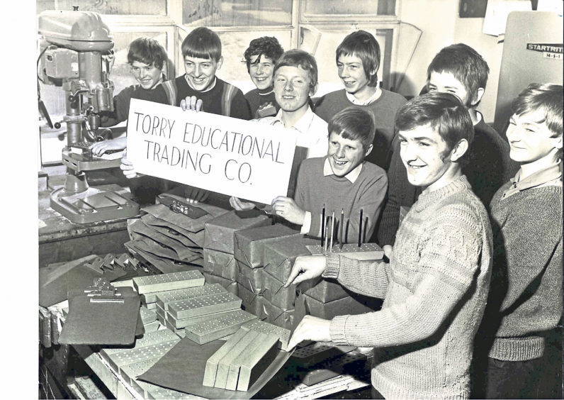 Tradesmen and directors of Torry Educational Trading Co – a company set up by pupils – in March 1970