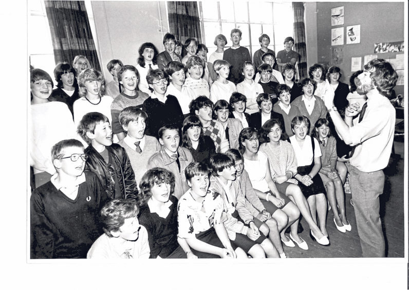Pupils rehearse for the performance of Joseph and the Amazing Technicolor Dreamcoat in 1984
