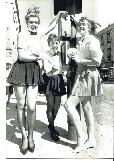 From left, Lynda McGarrity, Clair Fraser and Wendy Hicks took to the streets in 1987 to publicise School's Out, a musical to be staged by pupils at Aberdeen Arts Centre