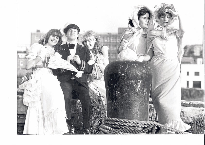 Stars of the school's production of Showboat posing at Aberdeen Harbour in 1981 were, from left, Mhorag Mair, Kenneth Thomson, Rhonda Mair, Alison Smith and Tracey Wood