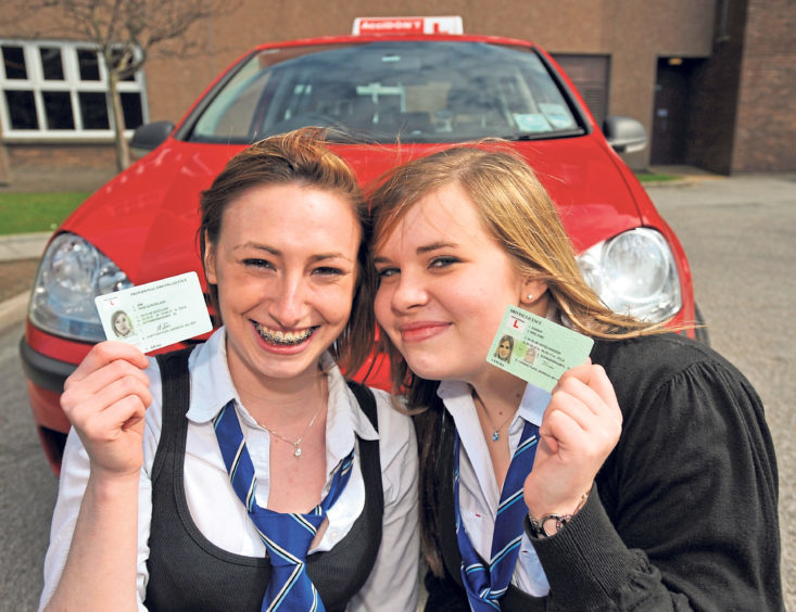 Pupils Aurora Ann Sim and Jodie Dunbar were ready for their driving lesson provided by Accidont, supported by TOTAL E&P UK in 2008