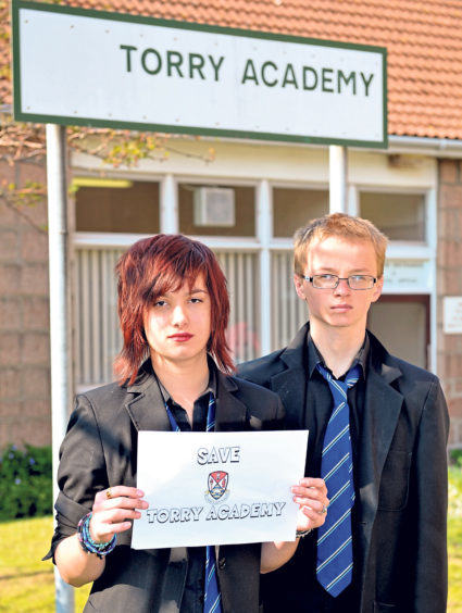 Owen Restrup and Caris Stephen were part of a group who organised a petition against the closure of Torry Academy in 2013