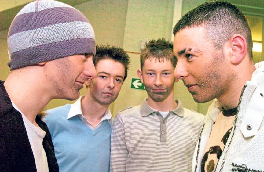 From left, Kieren Will, Dean Allan, Matthew Murray and Kieran Wilson were competing in a karaoke competition in 2006