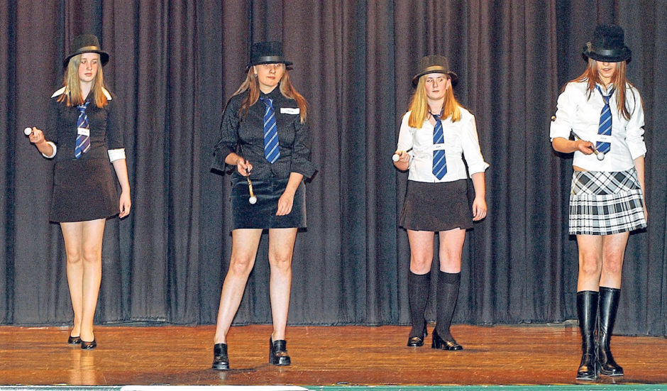 Girls in the school's fashion show in 2003