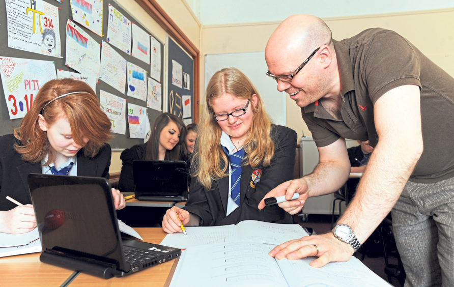 Danielle Chawner and Jade Robertson in Craig Wilson's maths class in 2011