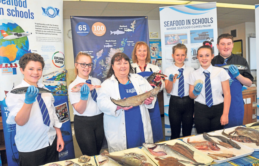 Youngsters take part in a Seafood in Schools Roadshow at Torry Academy in 2015