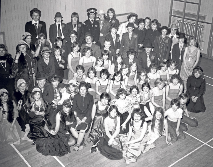 Torry Academy pupils at a dress rehearsal in May, 1978, in preparation for their upcoming performances of Guys And Dolls.