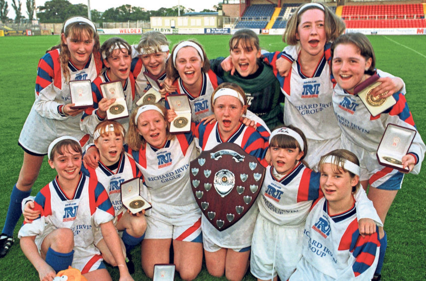 Under-13 Scottish Girls' Schools Shield winners Torry Academy after their 3-1 win over Golspie High School at Victoria Park Dingwall in 1998