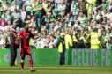 Shay Logan celebrates after Aberdeen's 1-0 victory over Celtic at Parkhead.