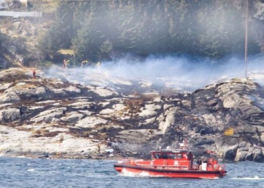The site where a Super Puma helicopter crashed in Norway in April 2016