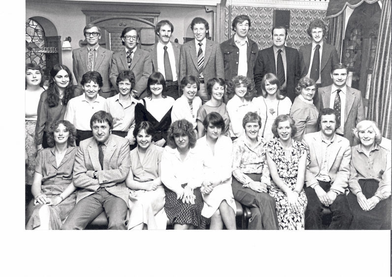 The production team of Torry Academy's musical Annie Get Your Gun play host to the people who helped make their show a success during a dinner at the Atholl Hotel, King's Gate, for musicians and academy staff in 1980