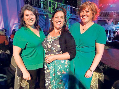 TV star Joyce Falconer, centre, with sisters Ann and Gwen at the former pupils buffet disco at the Beach Ballroom in May