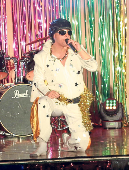 Josh Cowe giving it his all as Elvis in the school's X Factor contest in November 2017