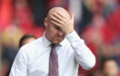 Sean Dyche, manager of Burnley, reacts during the UEFA Europa League Second Qualifying Round 1st Leg match between Aberdeen and Burnley at Pittodrie