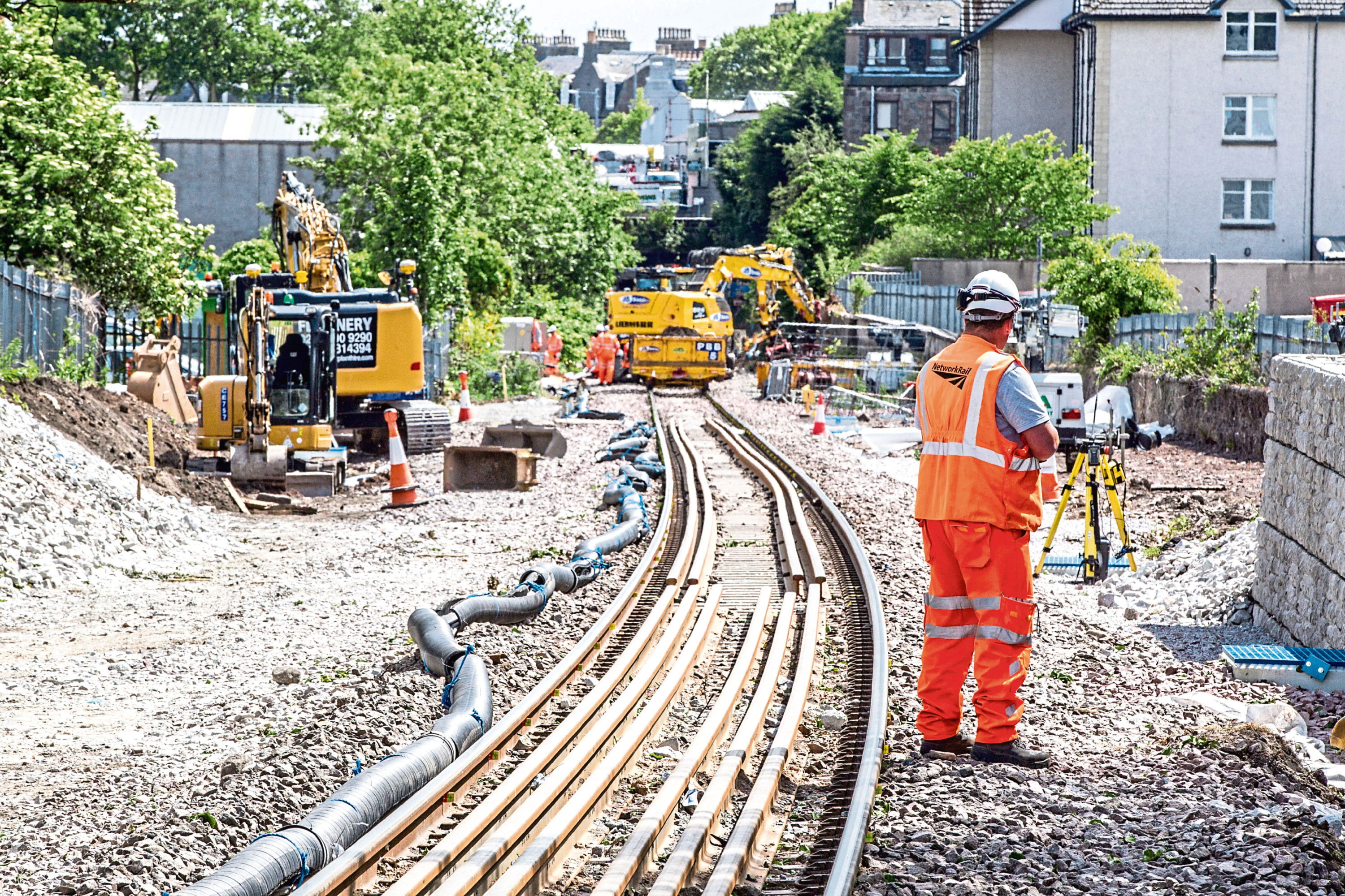 Network Rail engineers at work on a stretch of line in Aberdeen