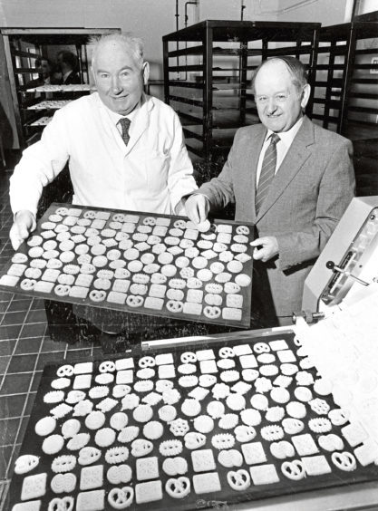 Councillor John Sorrie opens the biscuit factory of Mr Walter Stephen in Aboyne