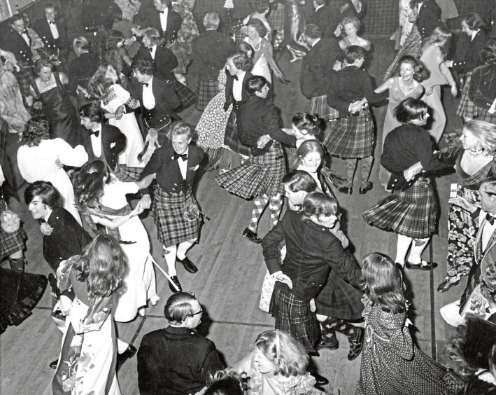 Dancing the Foursome Reel at the Aboyne Ball in the Victory Hall, Aboyne