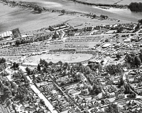An aerial view of the Aboyne Games held at the Charlestown Green