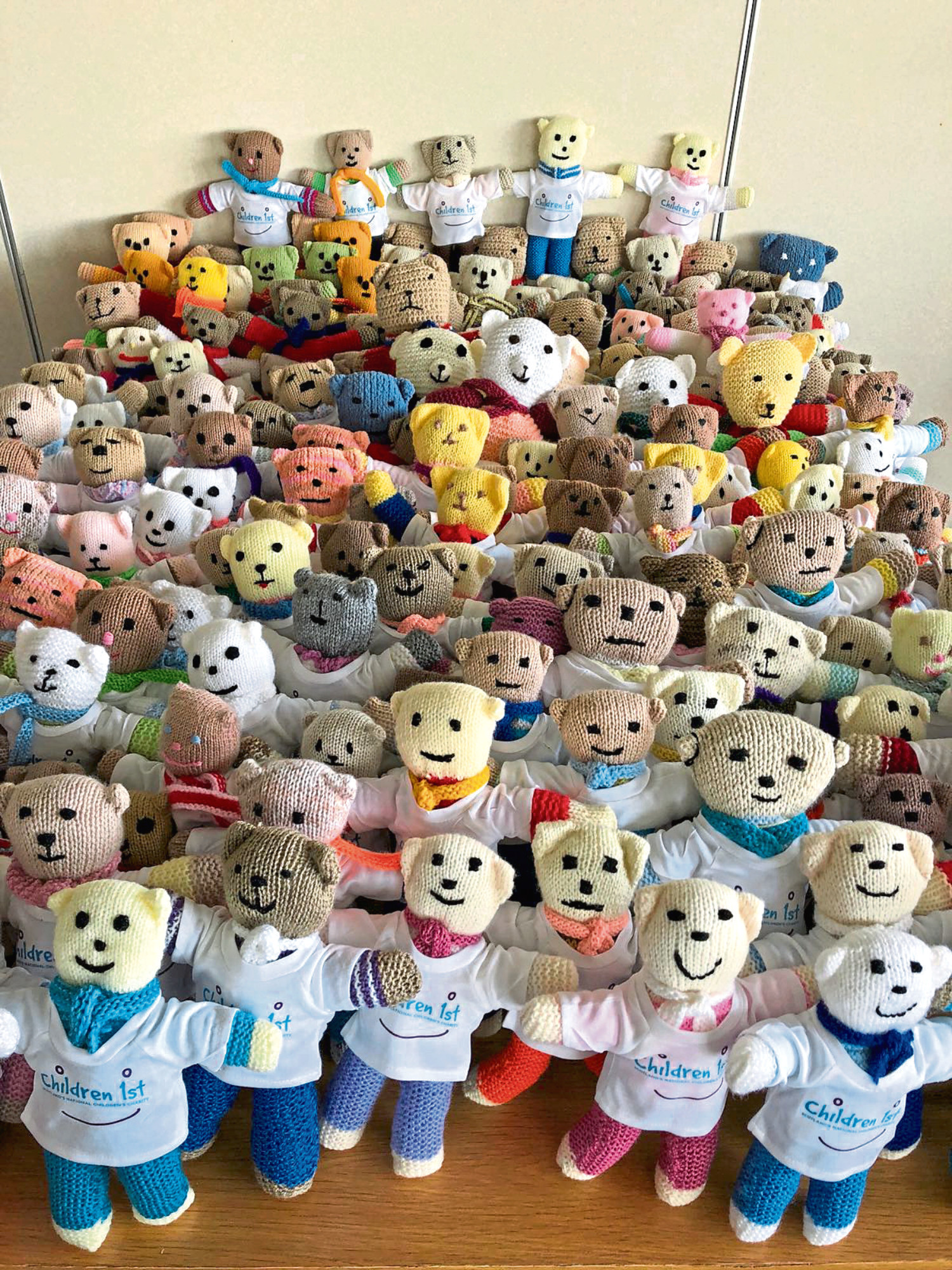 Some of the 180 teddies