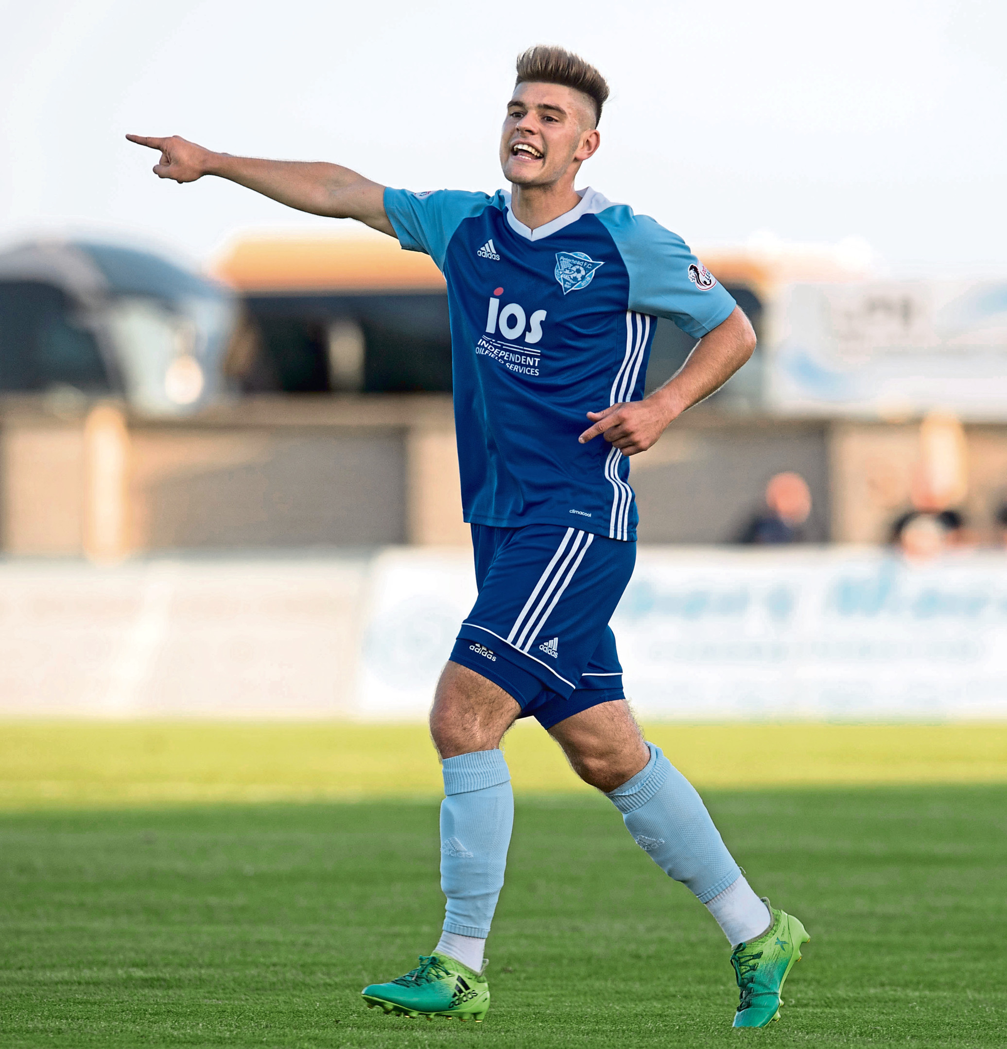 Jack Leitch in action for Peterhead.