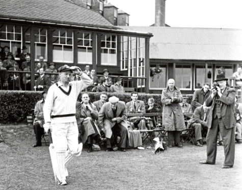 The great Don Bradman playing at Mannofield in 1948.