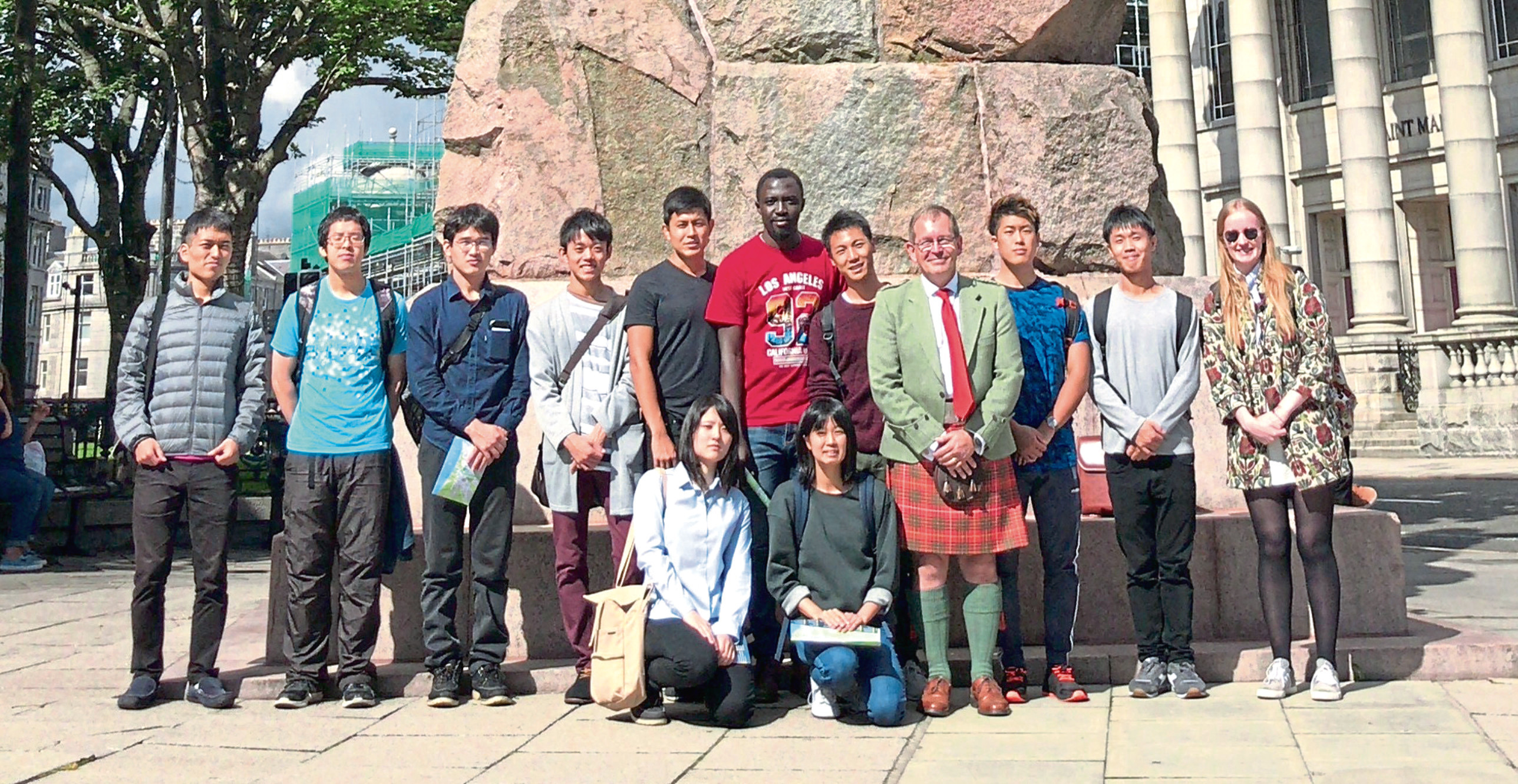 The students pictured in Aberdeen city centre