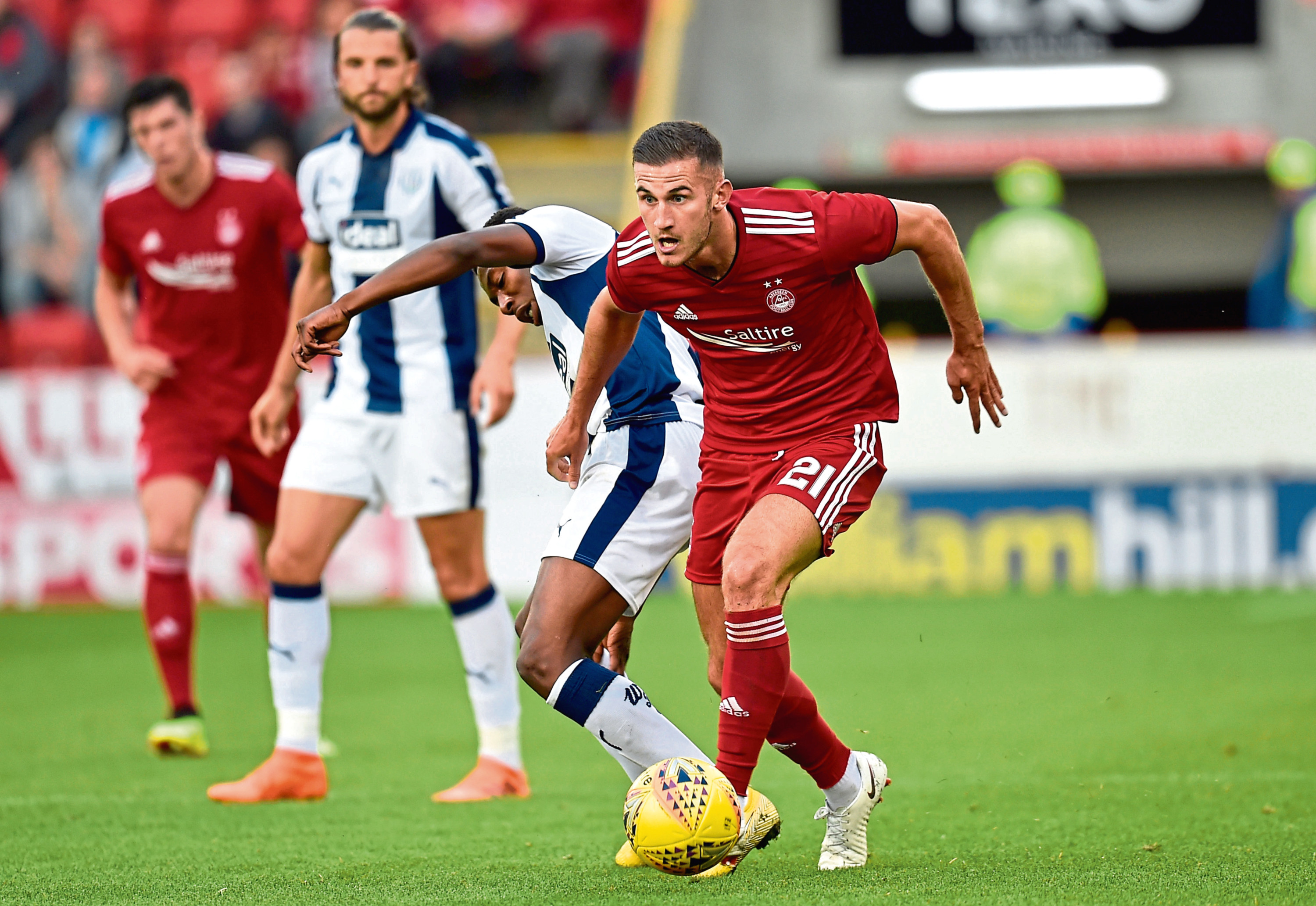 Dom Ball in action for Aberdeen  against West Brom