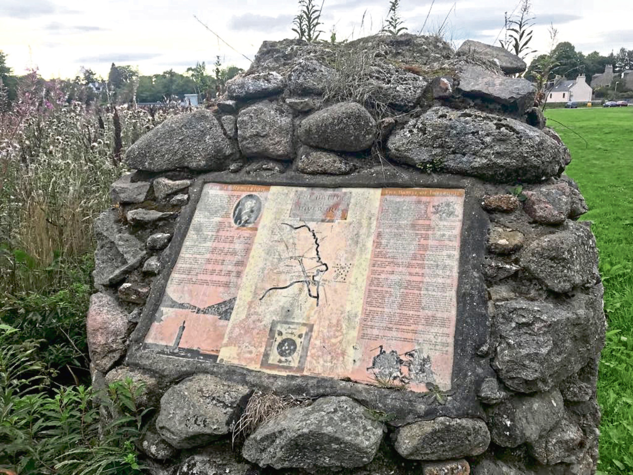 The Battle of Inverurie memorial cairn in the town