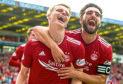 Aberdeen's Gary Mackay-Steven, left, celebrates his second goal with Graeme Shinnie.