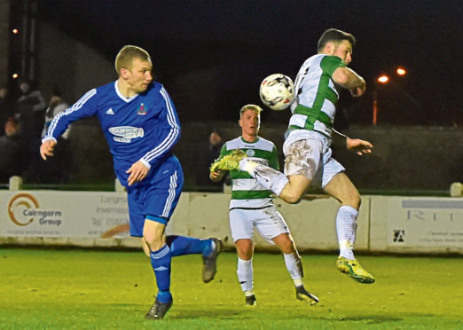 Eric Watson in action against Buckie Thistle. Picture by Kenny Elrick