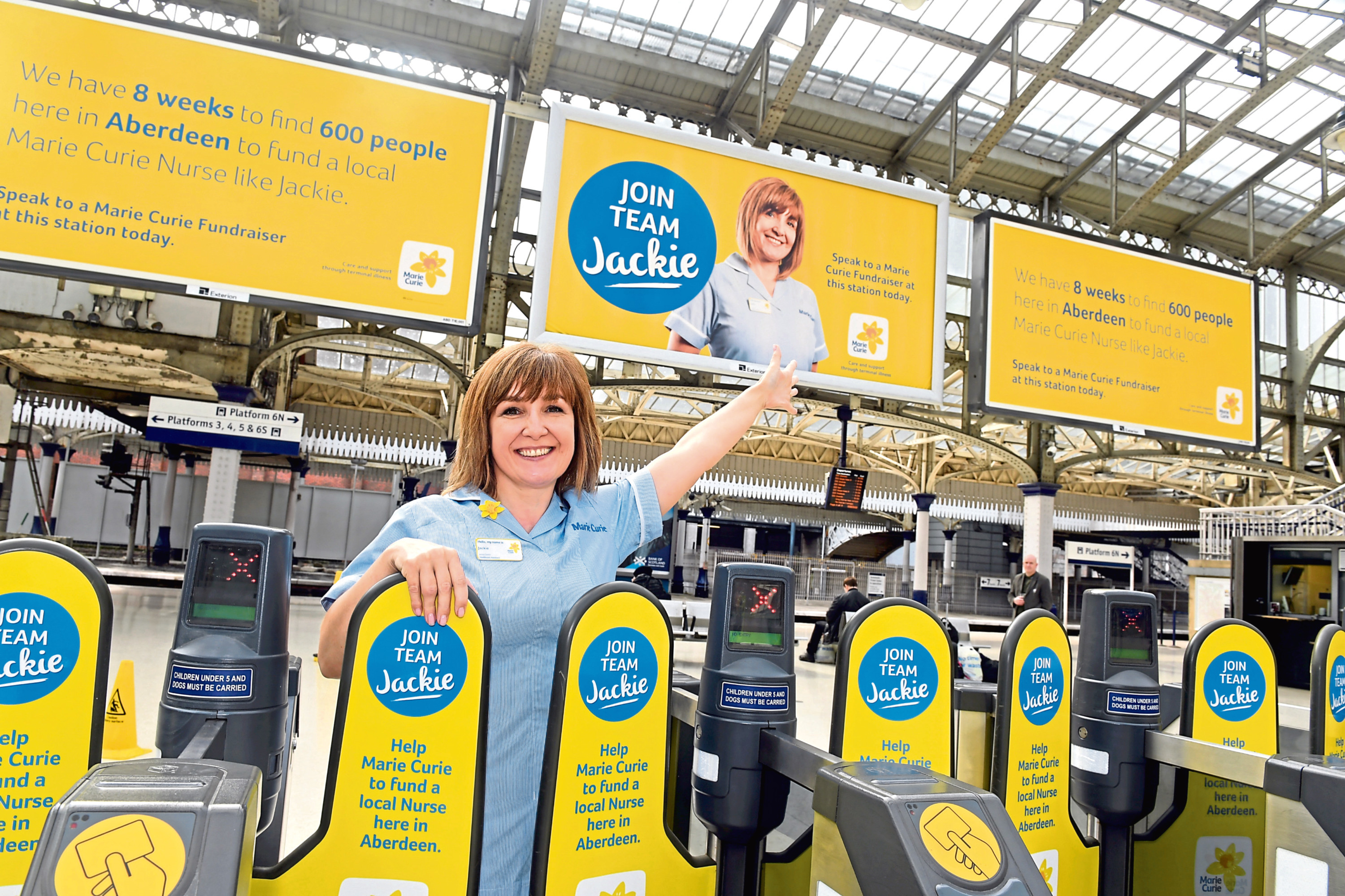 Marie Curie launched their 'Team Jackie' Campaign at Aberdeen railway station