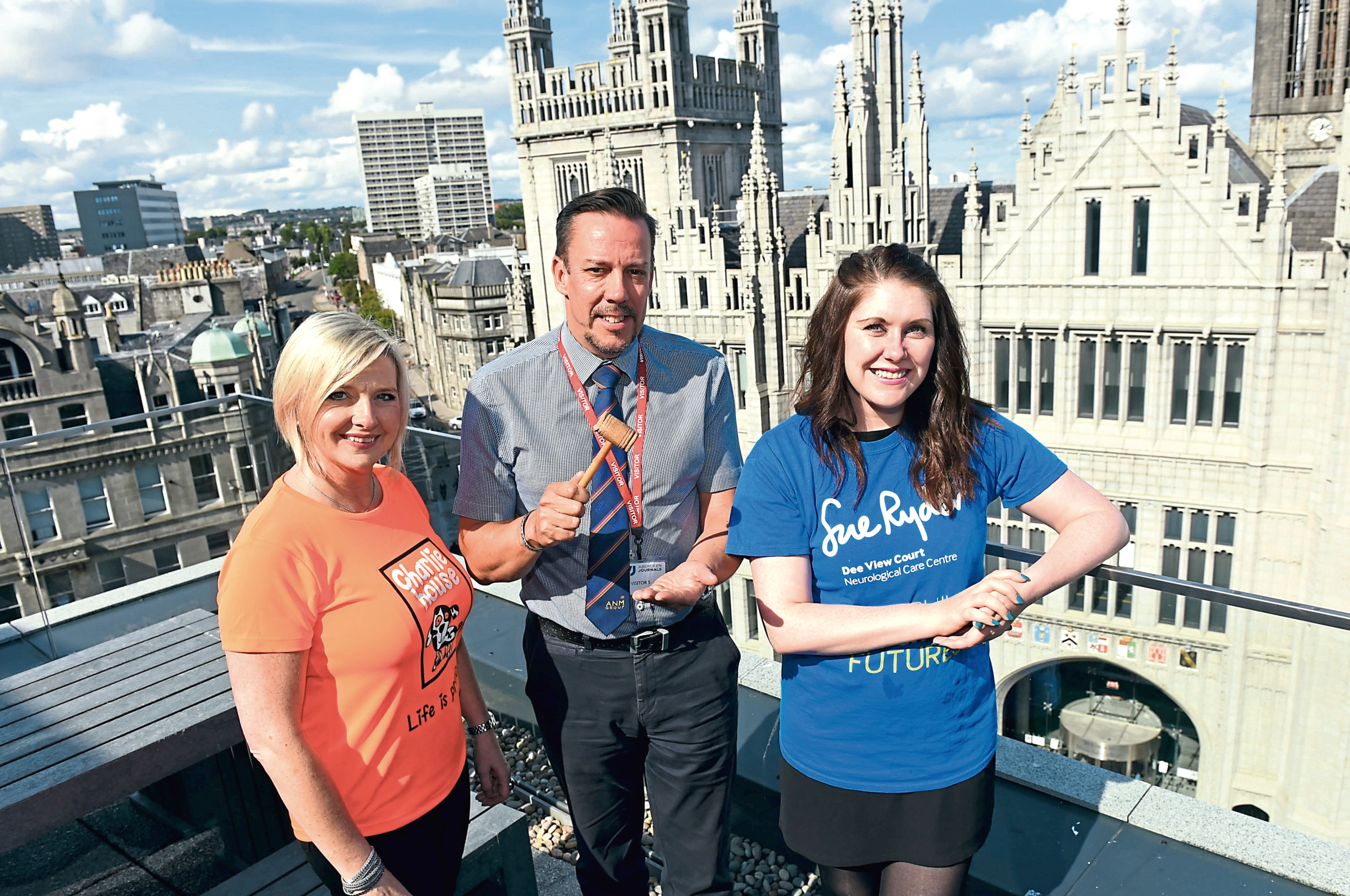 Lynn Batham from Charlie House, Neil Simpson and Emma Leiper-Finlayson, Sue Ryder