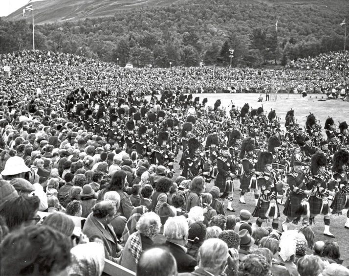 1976: The Massed Pipe Band goes through its paces in front of a massive crowd