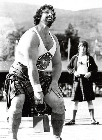 1981: Strongman legend Geoff Capes gets ready to throw the weight over the bar