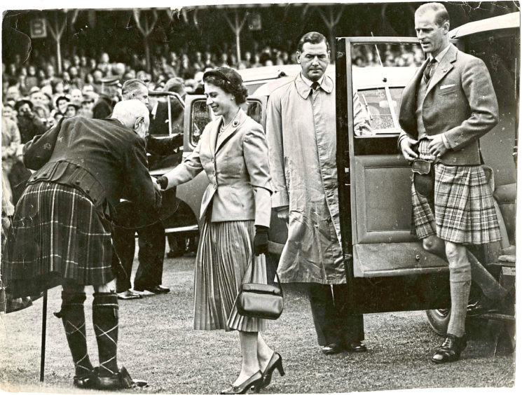 1954: The Queen is greeted by the Lord Lieutenant of Aberdeenshire, the 2nd Marquess of Aberdeen