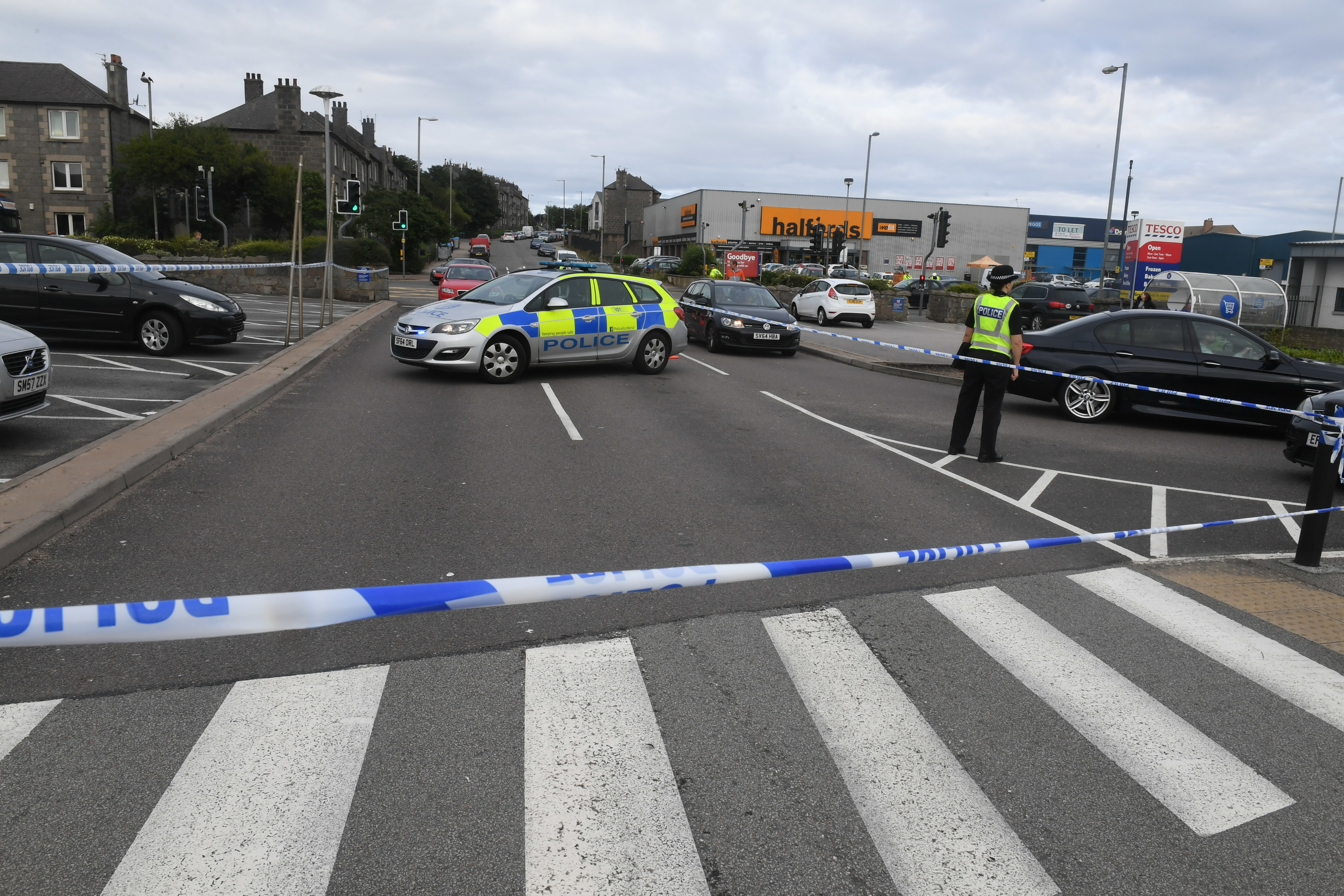 Police have sealed off part of the Tesco car park on Wellington Road