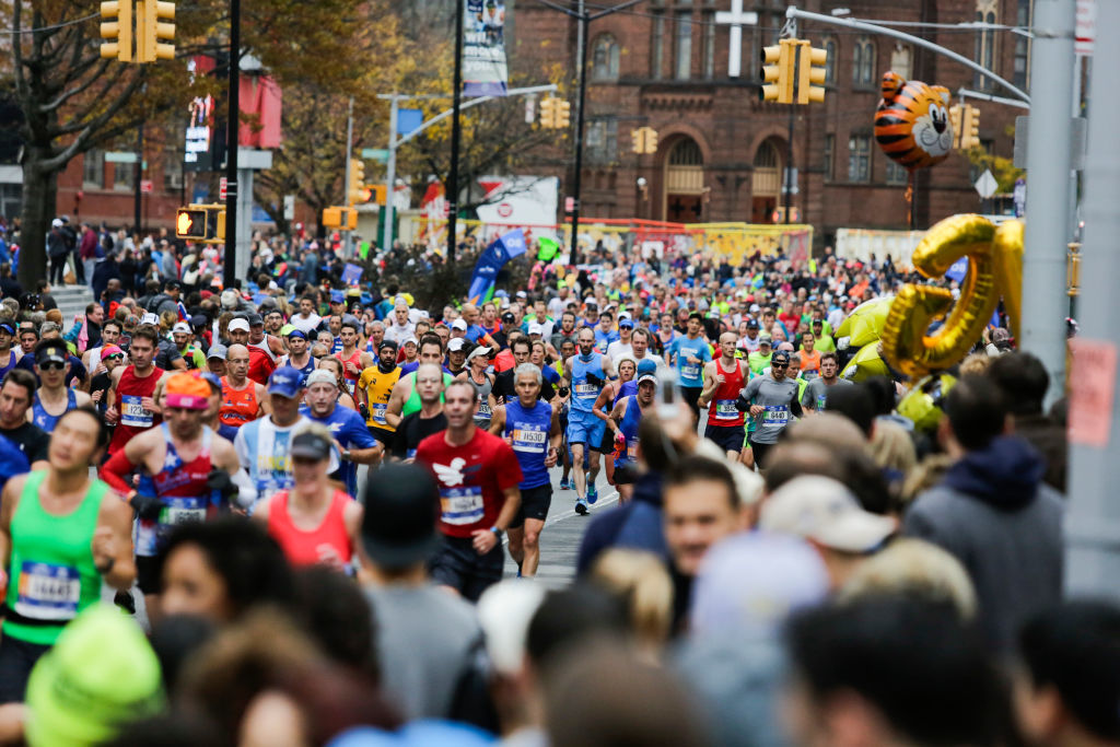 Runners make their way on Lafayette Avenue during the 2017 TCS New York City Marathon
