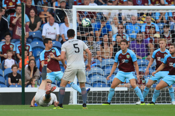 Burnley's Lewis Fergusonscores his sides first goal of the game making the score 1-1 during the UEFA Europa League, second qualifying round, second leg match at Turf Moor, Burnley.