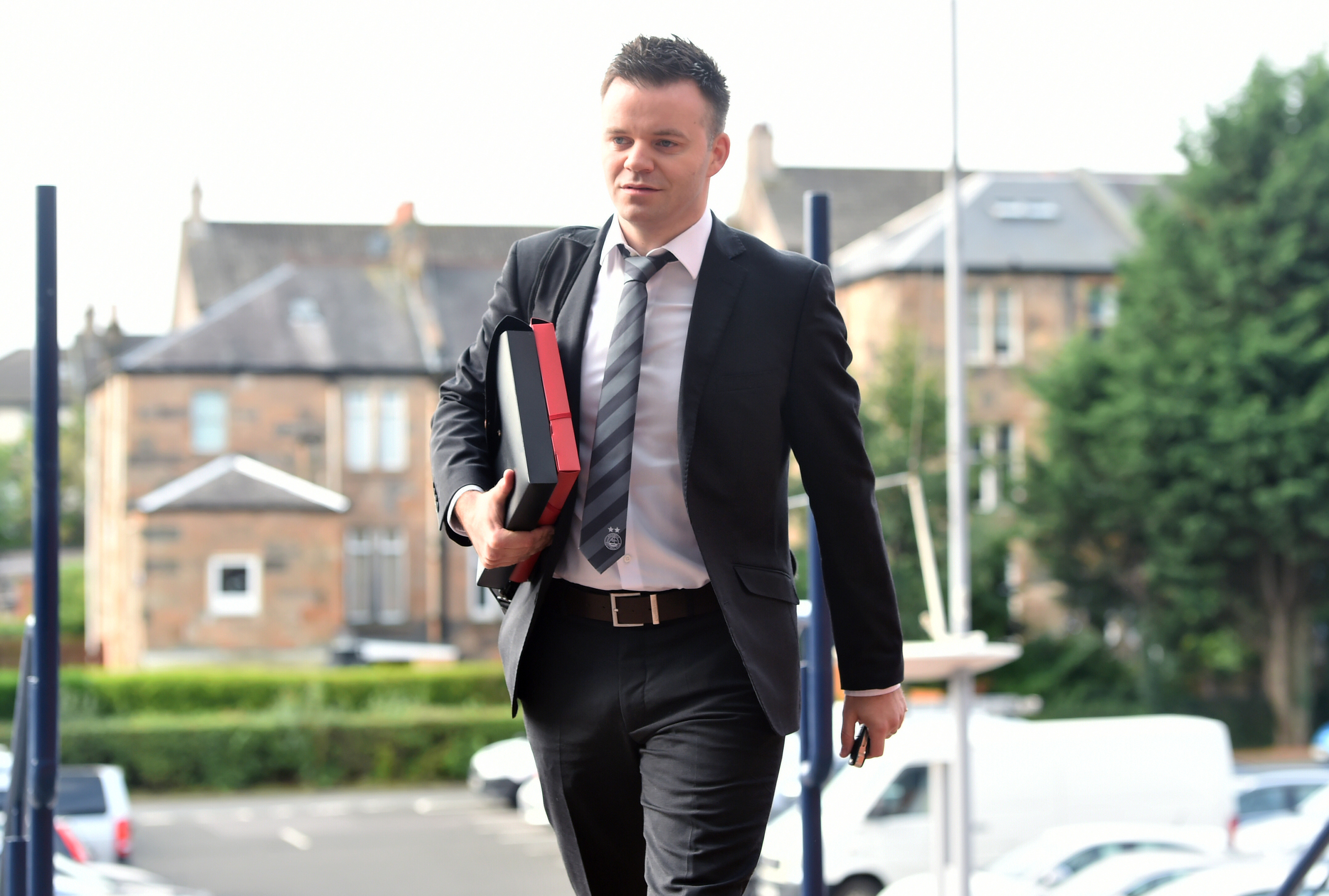 20/08/18   HAMPDEN PARK - GLASGOW   Steven Gunn, Director of Football Operations at Aberdeen, arrives at Hampden for the tribunal that will determine the fee Aberdeen have to pay Hamilton for striker Lewis Ferguson