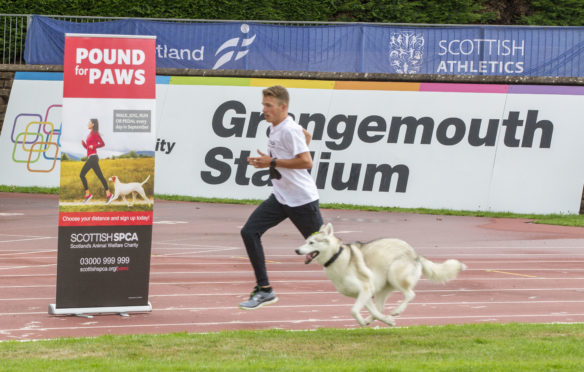 Pound for Paws: Andrew Butchart kicks off the event with a race.