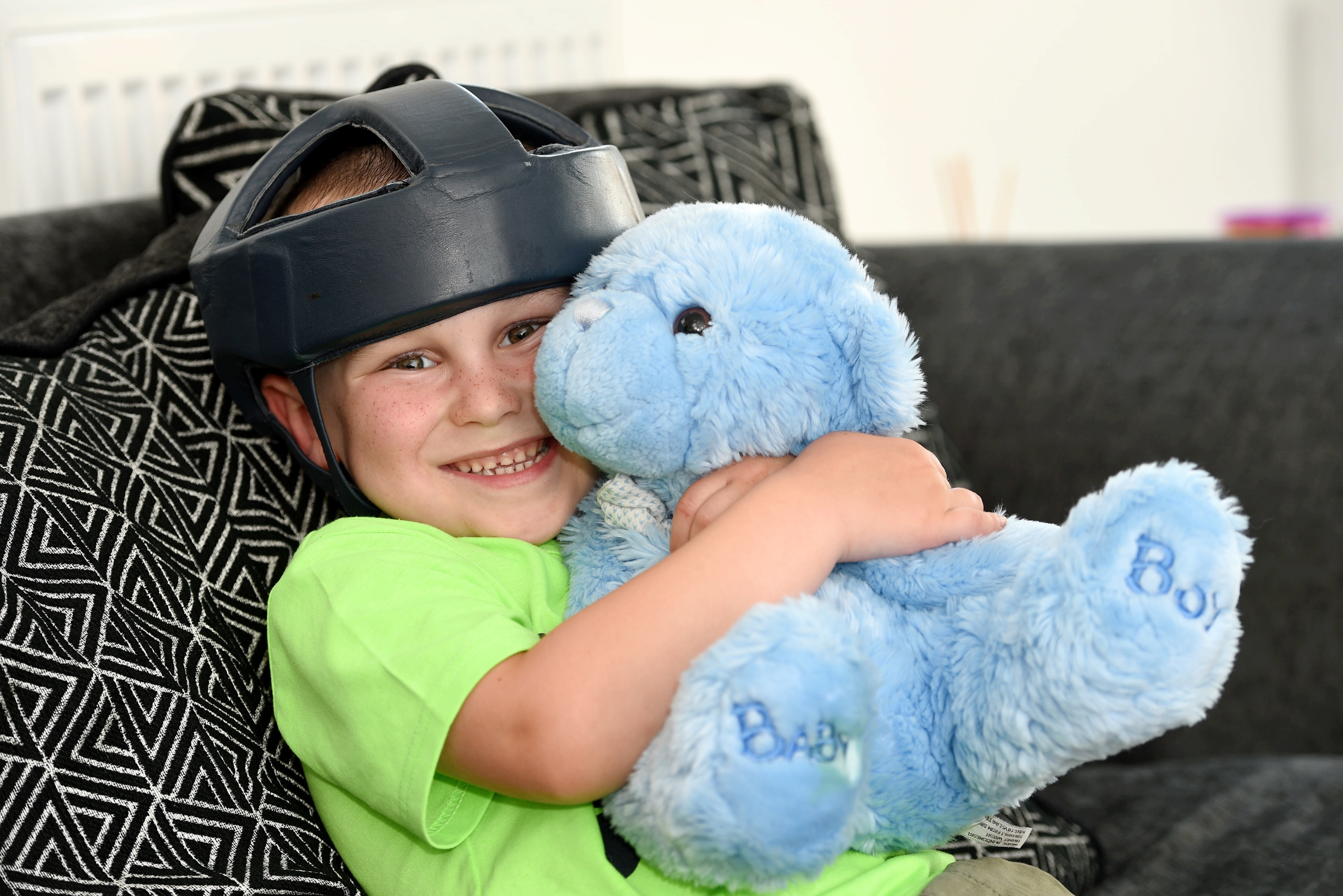 Kyle Judge, 5 with his therapy bear